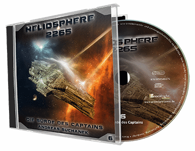 """Heliosphere 2265 (Hörspiel) - Folge 6: Die Bürde des Captains"" von Andreas Suchanek. Erschienen in der Greenlight Press. Produziert von Interplanar Produktion."